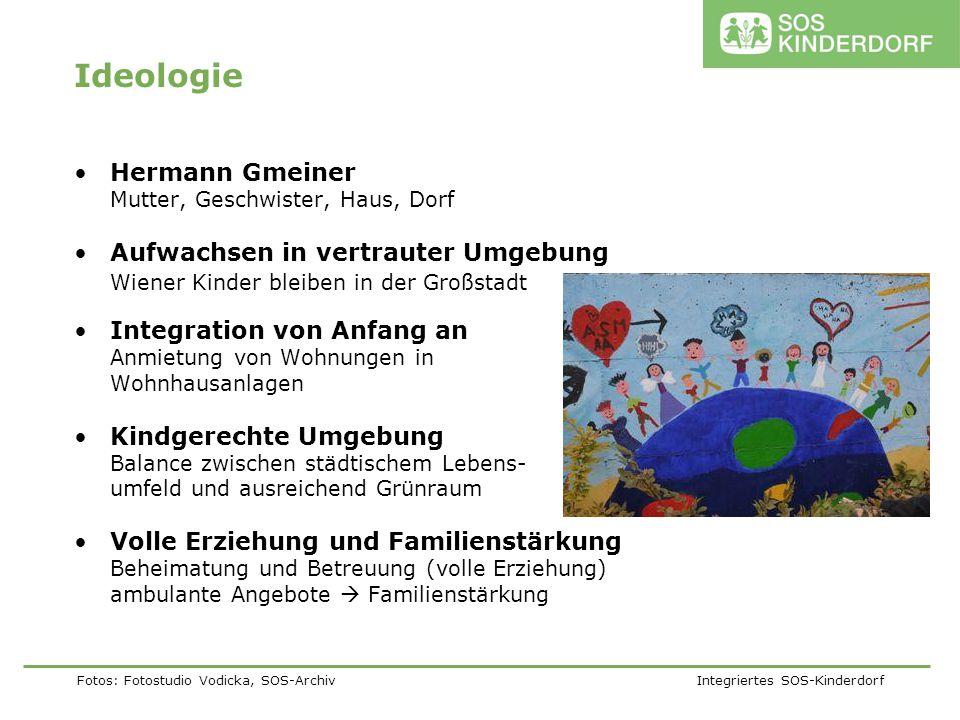 Fotos: Fotostudio Vodicka, SOS-Archiv Integriertes SOS-Kinderdorf Ideologie Hermann Gmeiner Mutter, Geschwister, Haus, Dorf Aufwachsen in vertrauter U