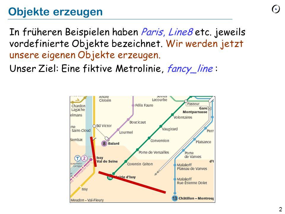 2 Objekte erzeugen In früheren Beispielen haben Paris, Line8 etc.