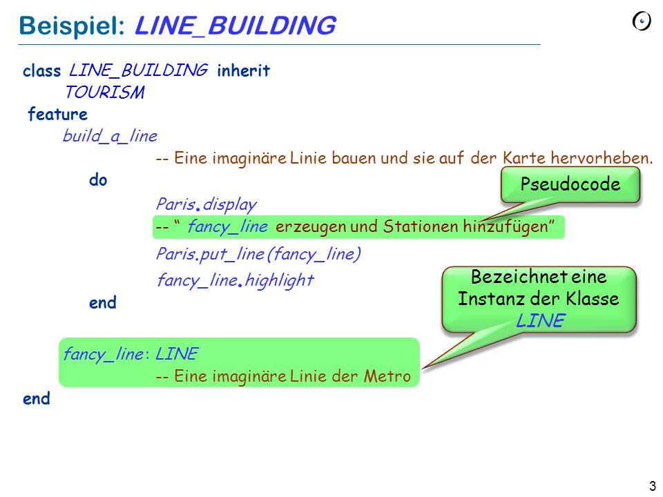 3 Beispiel: LINE_BUILDING Pseudocode Bezeichnet eine Instanz der Klasse LINE class LINE_BUILDING inherit TOURISM feature build_a_line -- Eine imaginäre Linie bauen und sie auf der Karte hervorheben.