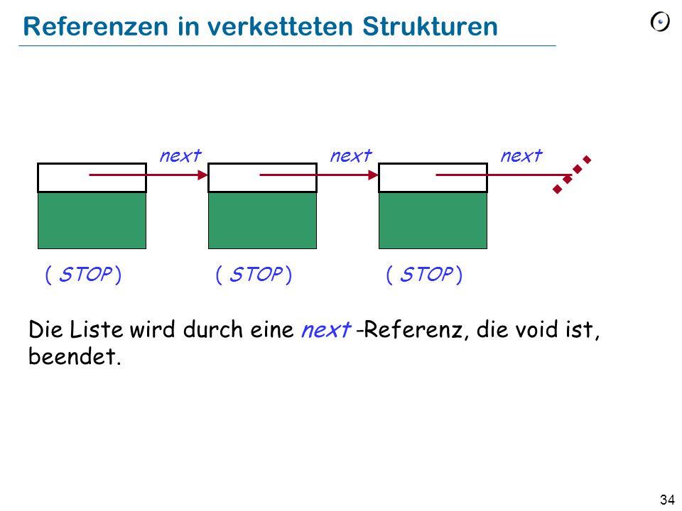 34 Referenzen in verketteten Strukturen Die Liste wird durch eine next -Referenz, die void ist, beendet.