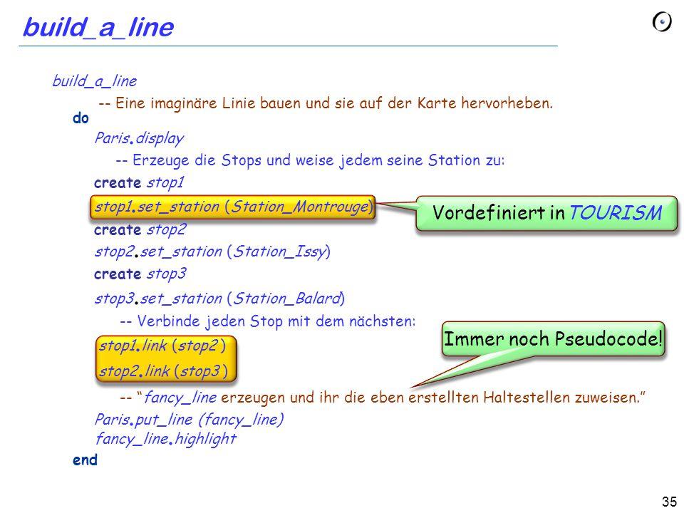 35 build_a_line Vordefiniert inTOURISM Immer noch Pseudocode.