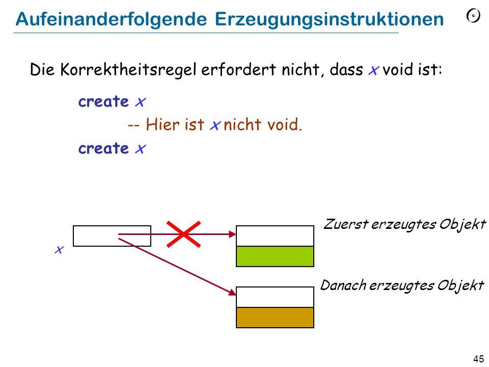 45 Aufeinanderfolgende Erzeugungsinstruktionen Die Korrektheitsregel erfordert nicht, dass x void ist: create x -- Hier ist x nicht void.