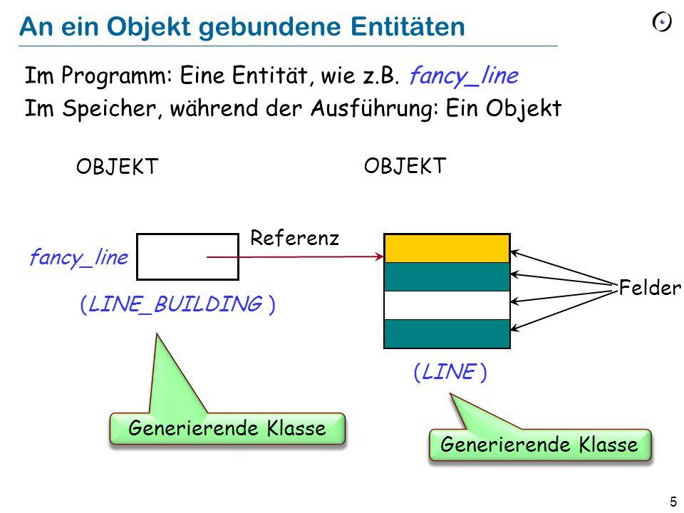 5 An ein Objekt gebundene Entitäten Im Programm: Eine Entität, wie z.B.