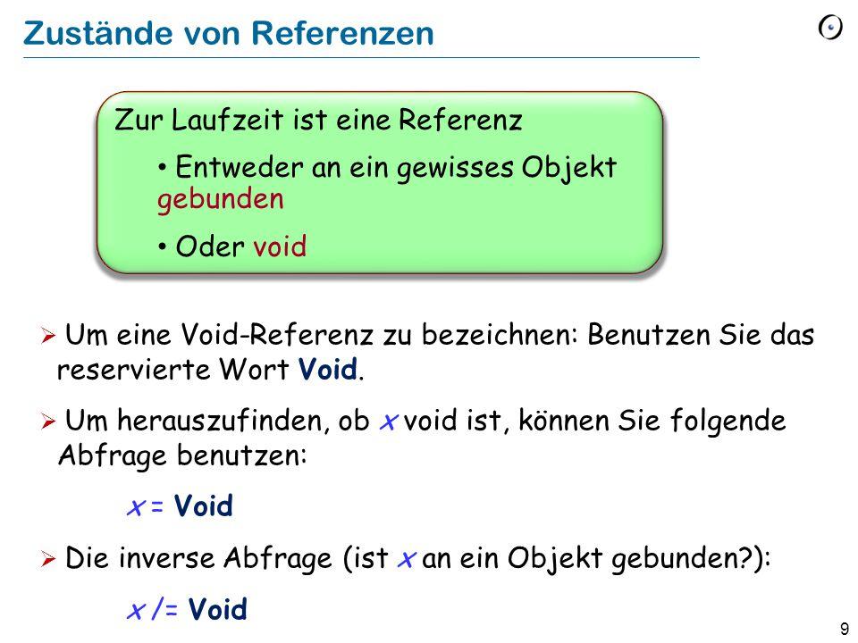 10 Das Problem mit Void-Referenzen Der Grundmechanismus von Programmen ist der Featureaufruf.