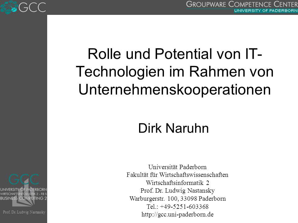 Prof. Dr. Ludwig Nastansky Universität Paderborn Fakultät für Wirtschaftswissenschaften Wirtschaftsinformatik 2 Prof. Dr. Ludwig Nastansky Warburgerst