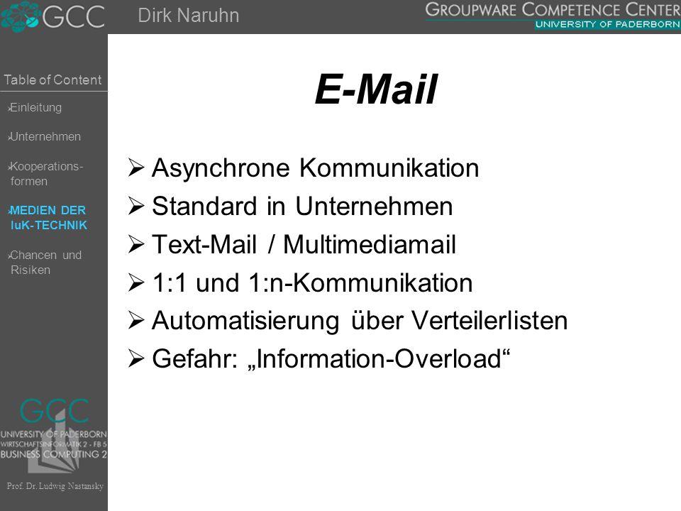 Table of Content Prof. Dr. Ludwig Nastansky E-Mail  Asynchrone Kommunikation  Standard in Unternehmen  Text-Mail / Multimediamail  1:1 und 1:n-Kom