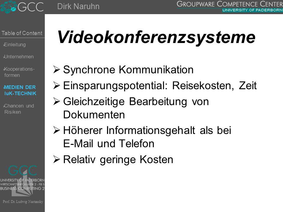 Table of Content Prof. Dr. Ludwig Nastansky Videokonferenzsysteme  Synchrone Kommunikation  Einsparungspotential: Reisekosten, Zeit  Gleichzeitige