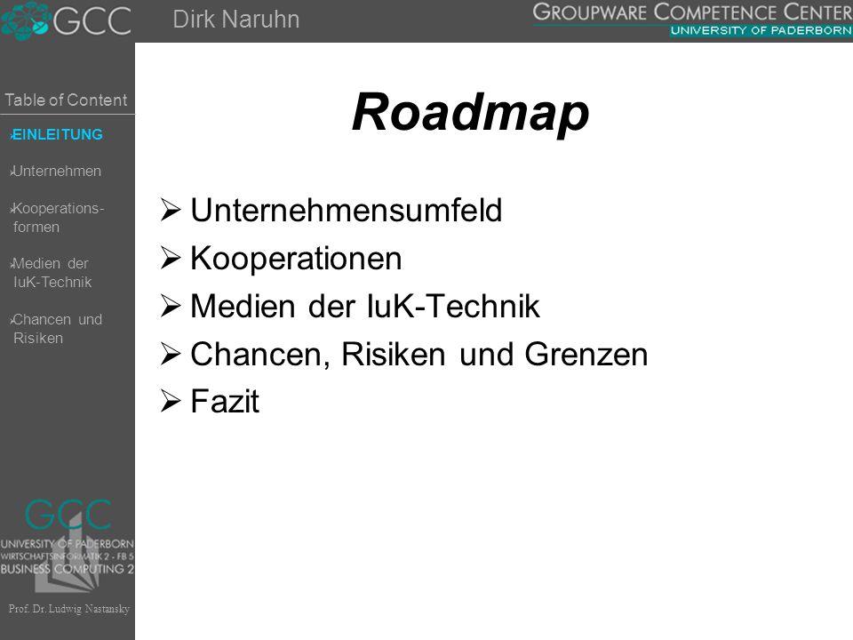 Table of Content Prof. Dr. Ludwig Nastansky Roadmap  Unternehmensumfeld  Kooperationen  Medien der IuK-Technik  Chancen, Risiken und Grenzen  Faz