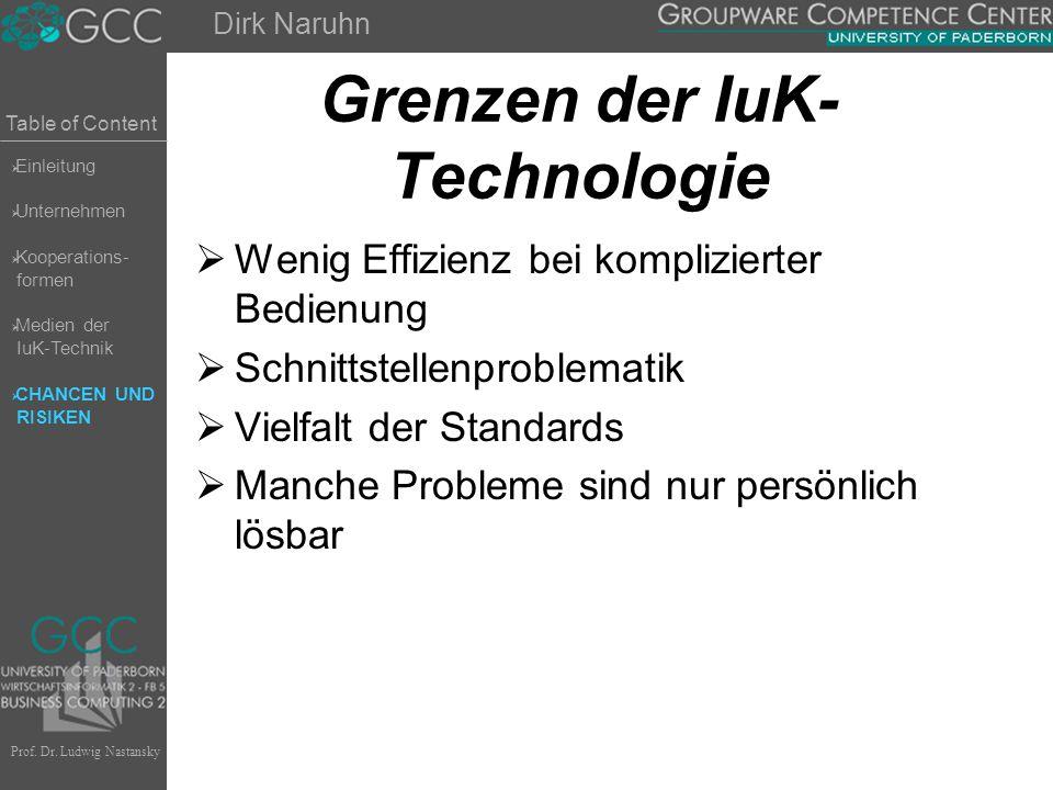 Table of Content Prof. Dr. Ludwig Nastansky Grenzen der IuK- Technologie  Wenig Effizienz bei komplizierter Bedienung  Schnittstellenproblematik  V