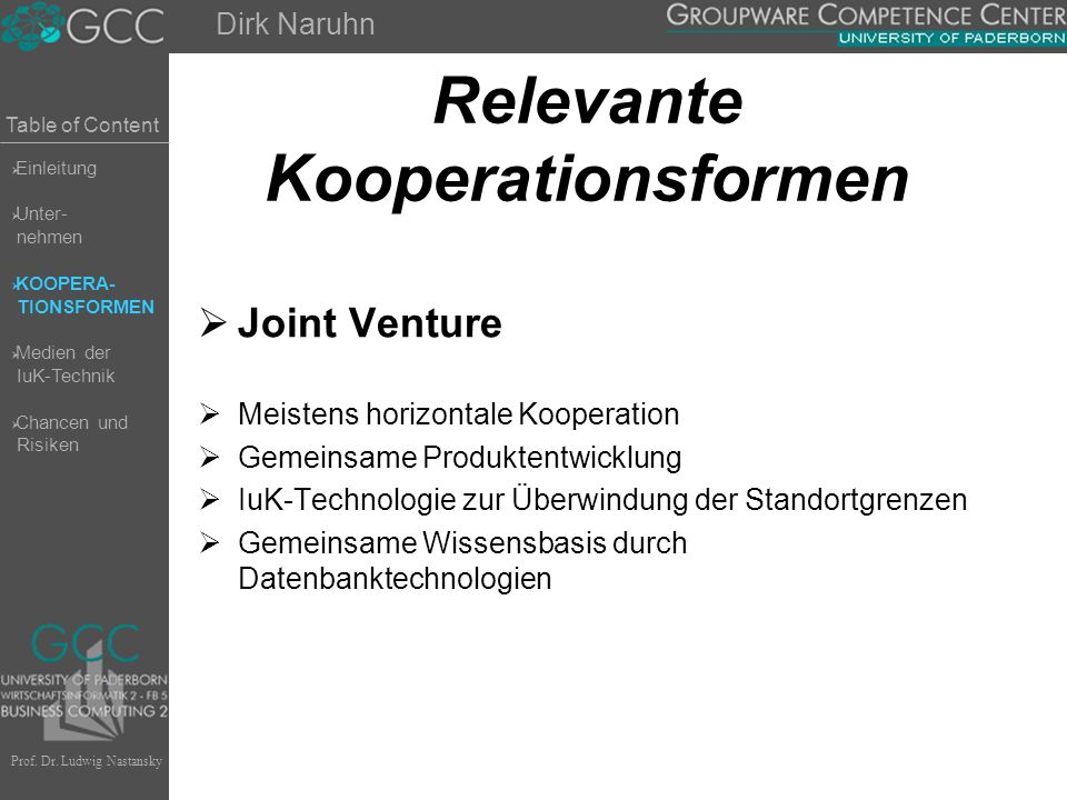 Table of Content Prof. Dr. Ludwig Nastansky Relevante Kooperationsformen  Joint Venture  Meistens horizontale Kooperation  Gemeinsame Produktentwic