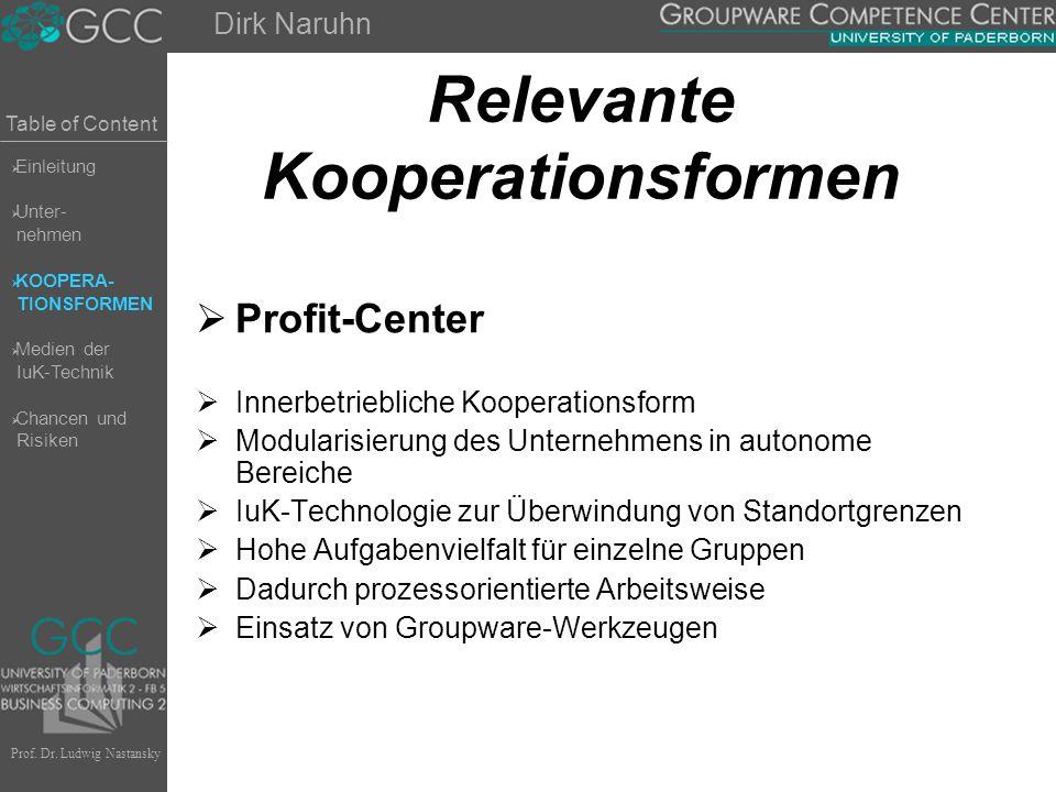 Table of Content Prof. Dr. Ludwig Nastansky Relevante Kooperationsformen  Profit-Center  Innerbetriebliche Kooperationsform  Modularisierung des Un