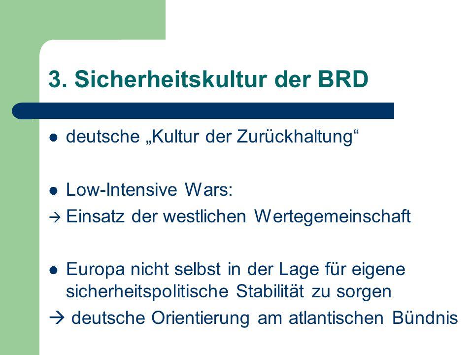 """3. Sicherheitskultur der BRD deutsche """"Kultur der Zurückhaltung"""" Low-Intensive Wars:  Einsatz der westlichen Wertegemeinschaft Europa nicht selbst in"""