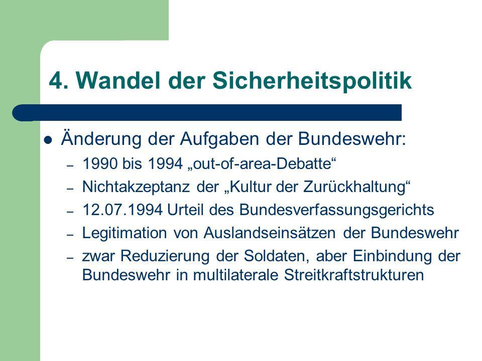 """4. Wandel der Sicherheitspolitik Änderung der Aufgaben der Bundeswehr: – 1990 bis 1994 """"out-of-area-Debatte"""" – Nichtakzeptanz der """"Kultur der Zurückha"""