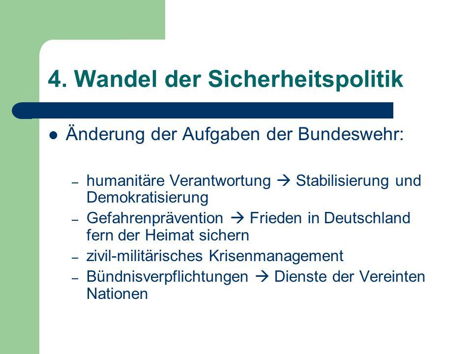 4. Wandel der Sicherheitspolitik Änderung der Aufgaben der Bundeswehr: – humanitäre Verantwortung  Stabilisierung und Demokratisierung – Gefahrenpräv