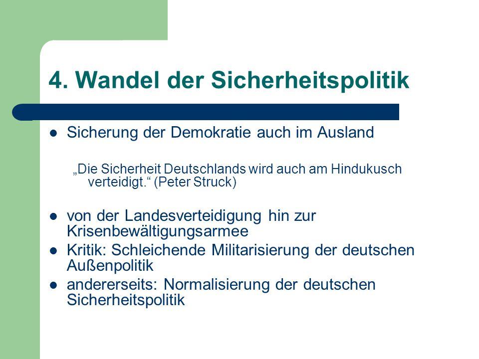 """4. Wandel der Sicherheitspolitik Sicherung der Demokratie auch im Ausland """"Die Sicherheit Deutschlands wird auch am Hindukusch verteidigt."""" (Peter Str"""