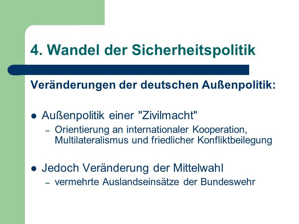 4. Wandel der Sicherheitspolitik Veränderungen der deutschen Außenpolitik: Außenpolitik einer