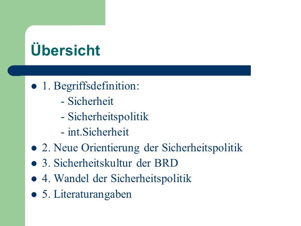 Übersicht 1.Begriffsdefinition: - Sicherheit - Sicherheitspolitik - int.Sicherheit 2.