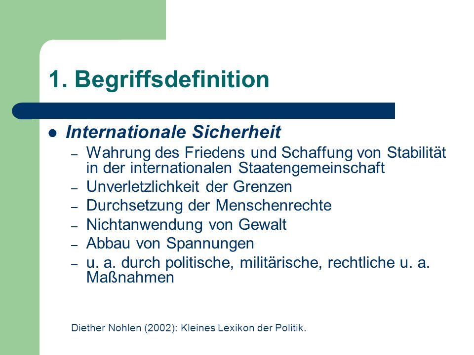 1. Begriffsdefinition Internationale Sicherheit – Wahrung des Friedens und Schaffung von Stabilität in der internationalen Staatengemeinschaft – Unver