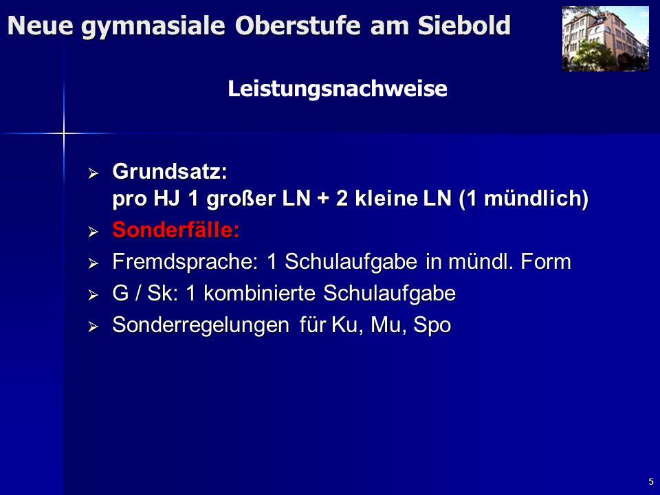 5 Neue gymnasiale Oberstufe am Siebold Leistungsnachweise  Grundsatz: pro HJ 1 großer LN + 2 kleine LN (1 mündlich)  Sonderfälle:  Fremdsprache: 1 Schulaufgabe in mündl.