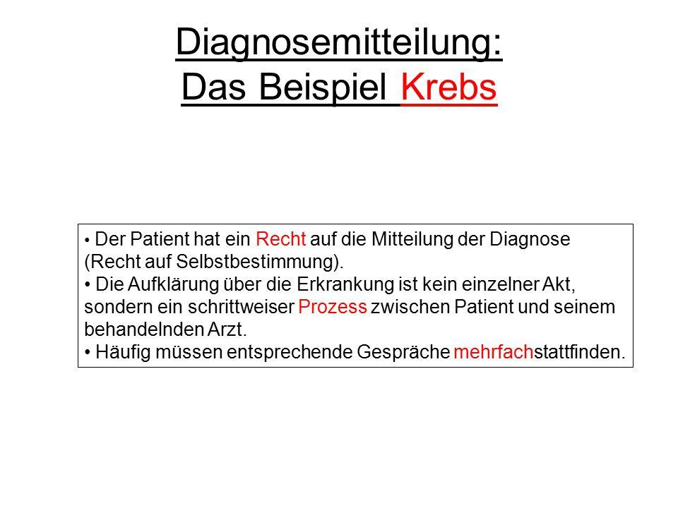 Der Patient hat ein Recht auf die Mitteilung der Diagnose (Recht auf Selbstbestimmung). Die Aufklärung über die Erkrankung ist kein einzelner Akt, son