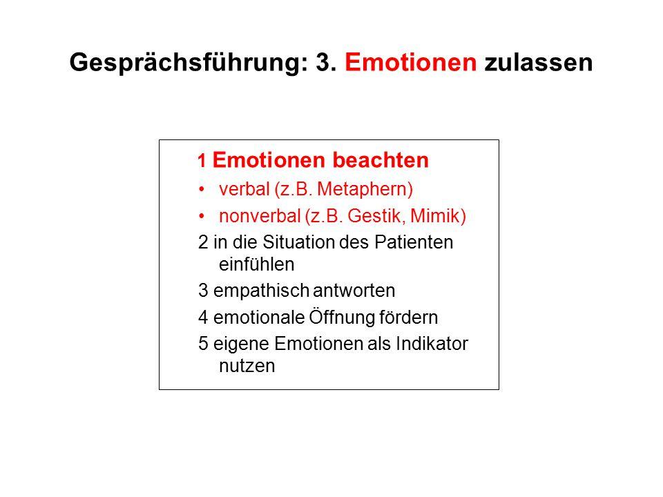 Gesprächsführung: 3. Emotionen zulassen 1 Emotionen beachten verbal (z.B. Metaphern) nonverbal (z.B. Gestik, Mimik) 2 in die Situation des Patienten e