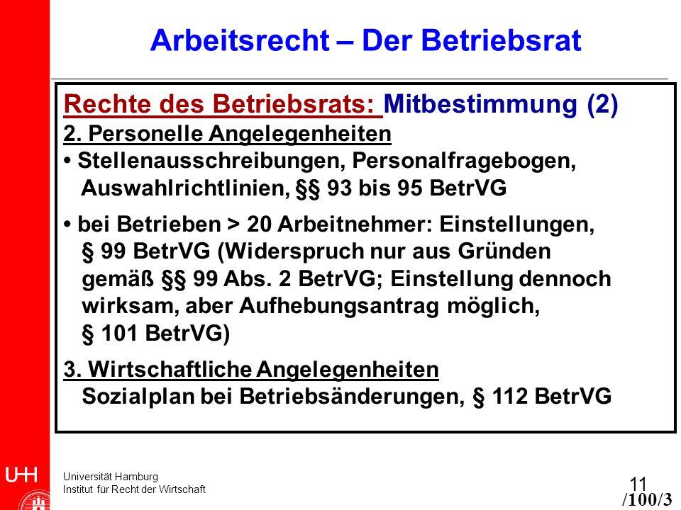 Universität Hamburg Institut für Recht der Wirtschaft 11 Arbeitsrecht – Der Betriebsrat Rechte des Betriebsrats: Mitbestimmung (2) 2.