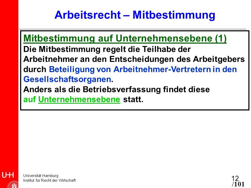 Universität Hamburg Institut für Recht der Wirtschaft 12 Arbeitsrecht – Mitbestimmung Mitbestimmung auf Unternehmensebene (1) Die Mitbestimmung regelt die Teilhabe der Arbeitnehmer an den Entscheidungen des Arbeitgebers durch Beteiligung von Arbeitnehmer-Vertretern in den Gesellschaftsorganen.