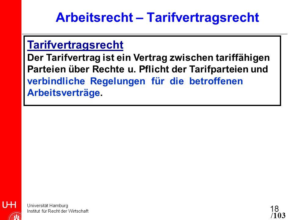 Universität Hamburg Institut für Recht der Wirtschaft 18 Arbeitsrecht – Tarifvertragsrecht Tarifvertragsrecht Der Tarifvertrag ist ein Vertrag zwischen tariffähigen Parteien über Rechte u.