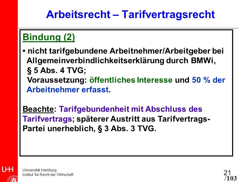 Universität Hamburg Institut für Recht der Wirtschaft 21 Arbeitsrecht – Tarifvertragsrecht Bindung (2) nicht tarifgebundene Arbeitnehmer/Arbeitgeber bei Allgemeinverbindlichkeitserklärung durch BMWi, § 5 Abs.
