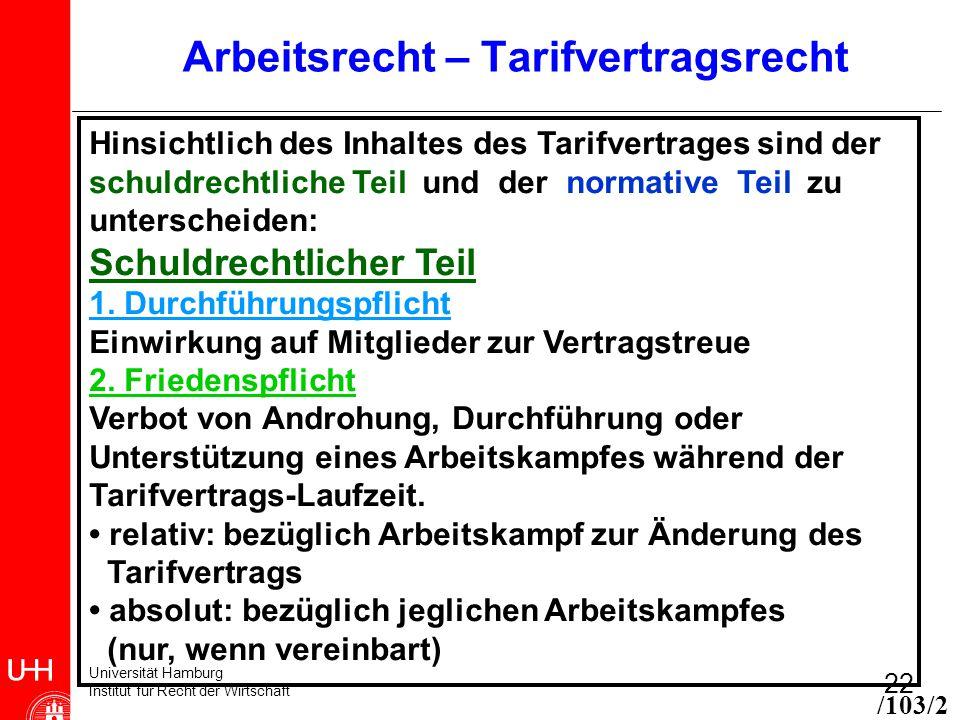 Universität Hamburg Institut für Recht der Wirtschaft 22 Arbeitsrecht – Tarifvertragsrecht Hinsichtlich des Inhaltes des Tarifvertrages sind der schuldrechtliche Teil und der normative Teil zu unterscheiden: Schuldrechtlicher Teil 1.