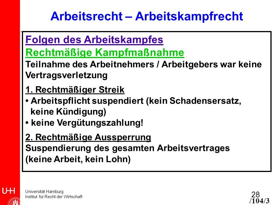 Universität Hamburg Institut für Recht der Wirtschaft 28 Arbeitsrecht – Arbeitskampfrecht Folgen des Arbeitskampfes Rechtmäßige Kampfmaßnahme Teilnahme des Arbeitnehmers / Arbeitgebers war keine Vertragsverletzung 1.