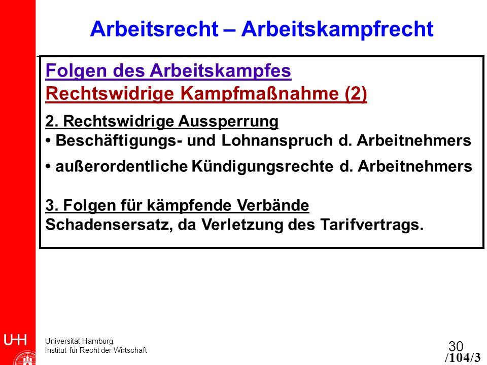 Universität Hamburg Institut für Recht der Wirtschaft 30 Arbeitsrecht – Arbeitskampfrecht Folgen des Arbeitskampfes Rechtswidrige Kampfmaßnahme (2) 2.