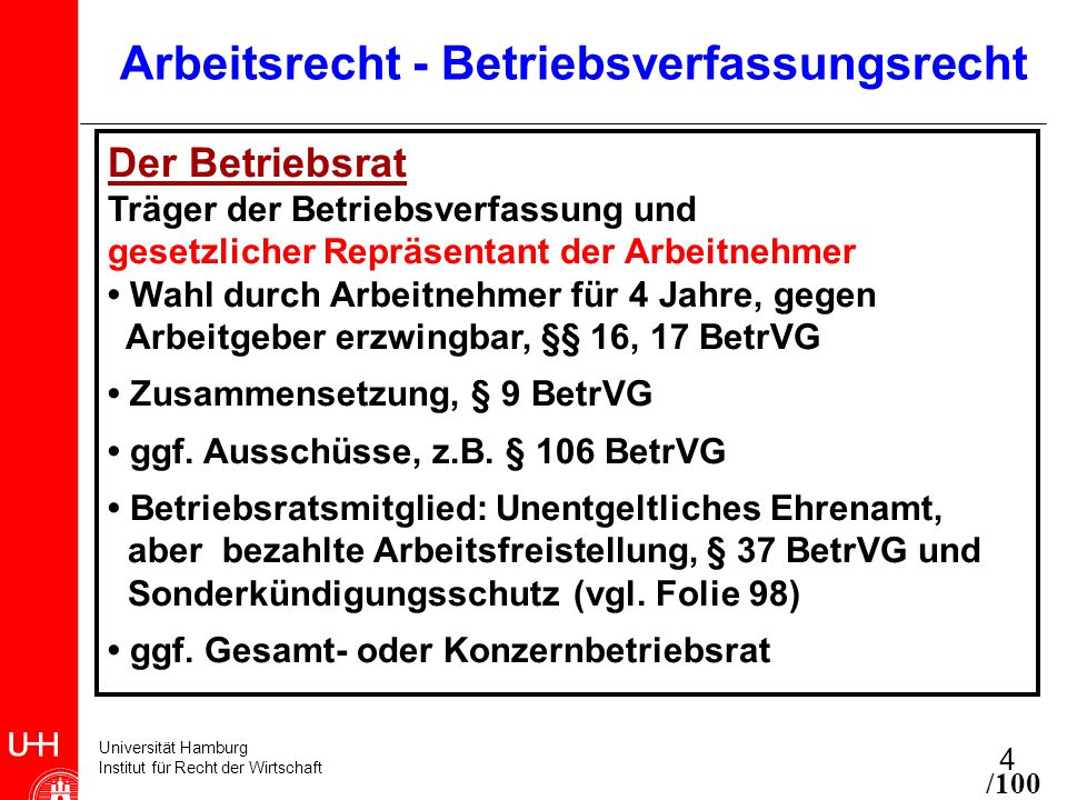 Universität Hamburg Institut für Recht der Wirtschaft 4 Arbeitsrecht - Betriebsverfassungsrecht Der Betriebsrat Träger der Betriebsverfassung und gesetzlicher Repräsentant der Arbeitnehmer Wahl durch Arbeitnehmer für 4 Jahre, gegen Arbeitgeber erzwingbar, §§ 16, 17 BetrVG Zusammensetzung, § 9 BetrVG ggf.