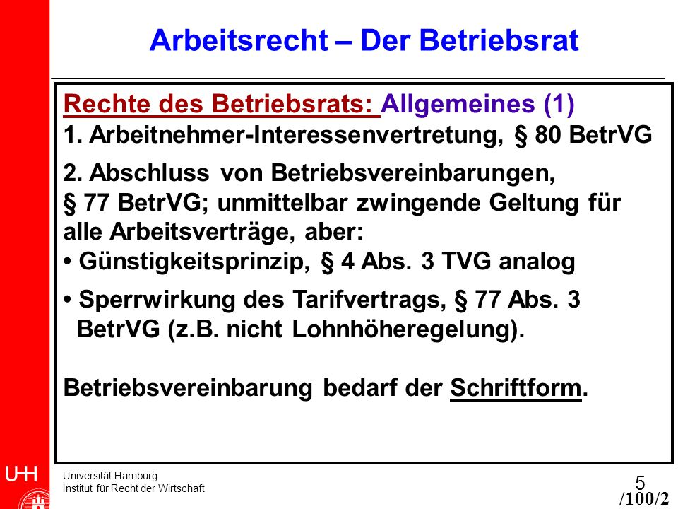 Universität Hamburg Institut für Recht der Wirtschaft 5 Arbeitsrecht – Der Betriebsrat Rechte des Betriebsrats: Allgemeines (1) 1. Arbeitnehmer-Intere