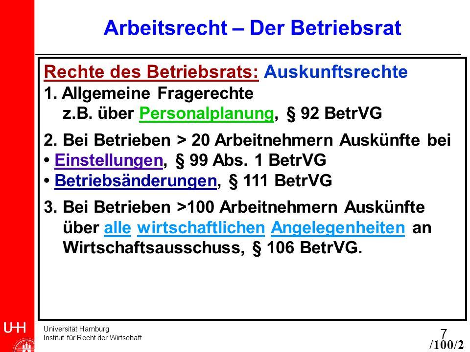 Universität Hamburg Institut für Recht der Wirtschaft 7 Arbeitsrecht – Der Betriebsrat Rechte des Betriebsrats: Auskunftsrechte 1. Allgemeine Fragerec