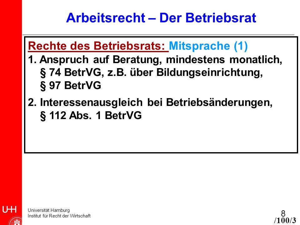 Universität Hamburg Institut für Recht der Wirtschaft 8 Arbeitsrecht – Der Betriebsrat Rechte des Betriebsrats: Mitsprache (1) 1. Anspruch auf Beratun