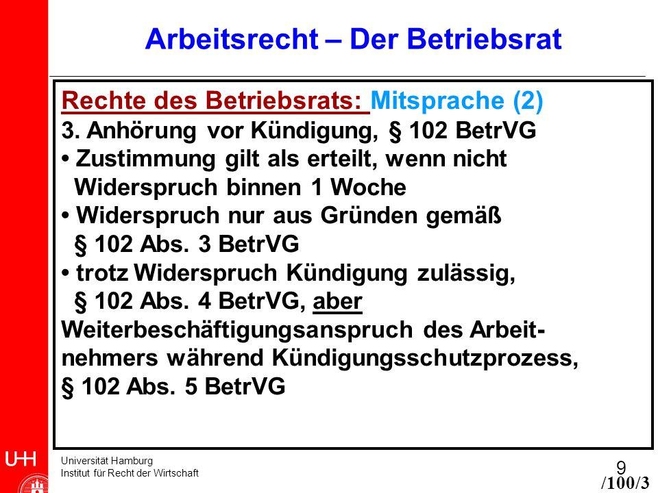 Universität Hamburg Institut für Recht der Wirtschaft 9 Arbeitsrecht – Der Betriebsrat Rechte des Betriebsrats: Mitsprache (2) 3. Anhörung vor Kündigu