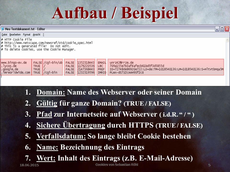 18.06.2015 Cookies von Sebastian Röhl 5 Aufbau / Beispiel 1.Domain: Name des Webserver oder seiner Domain 2.Gültig für ganze Domain? (TRUE / FALSE) 3.