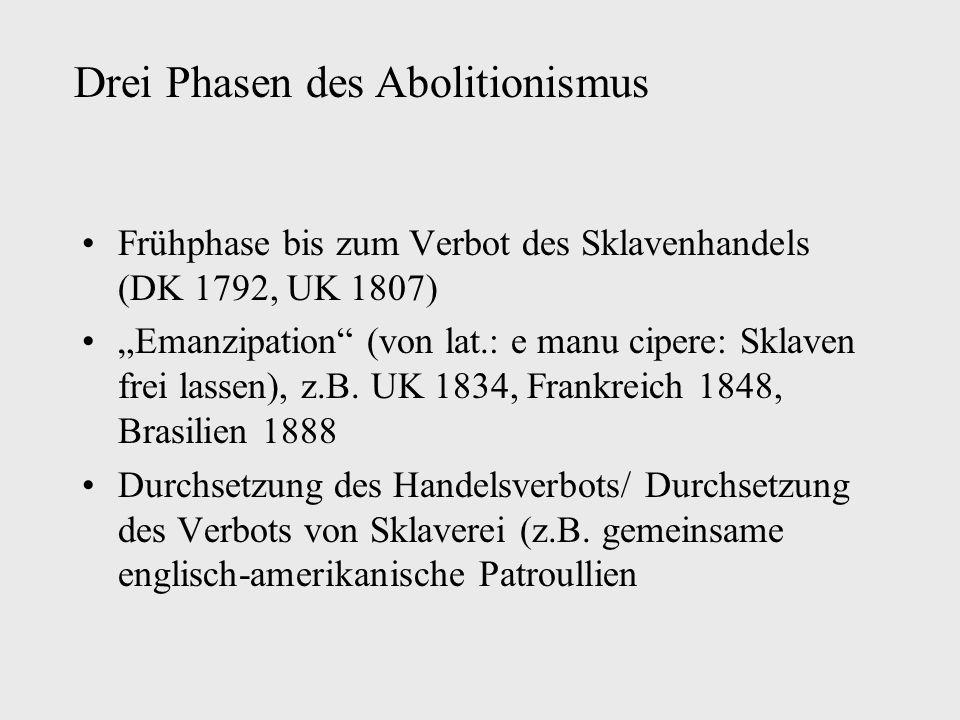 """Frühphase bis zum Verbot des Sklavenhandels (DK 1792, UK 1807) """"Emanzipation (von lat.: e manu cipere: Sklaven frei lassen), z.B."""