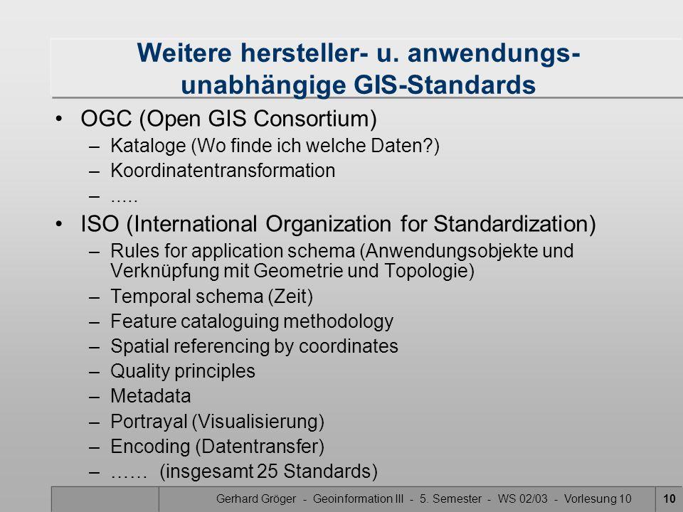 Gerhard Gröger - Geoinformation III - 5. Semester - WS 02/03 - Vorlesung 1010 Weitere hersteller- u. anwendungs- unabhängige GIS-Standards OGC (Open G