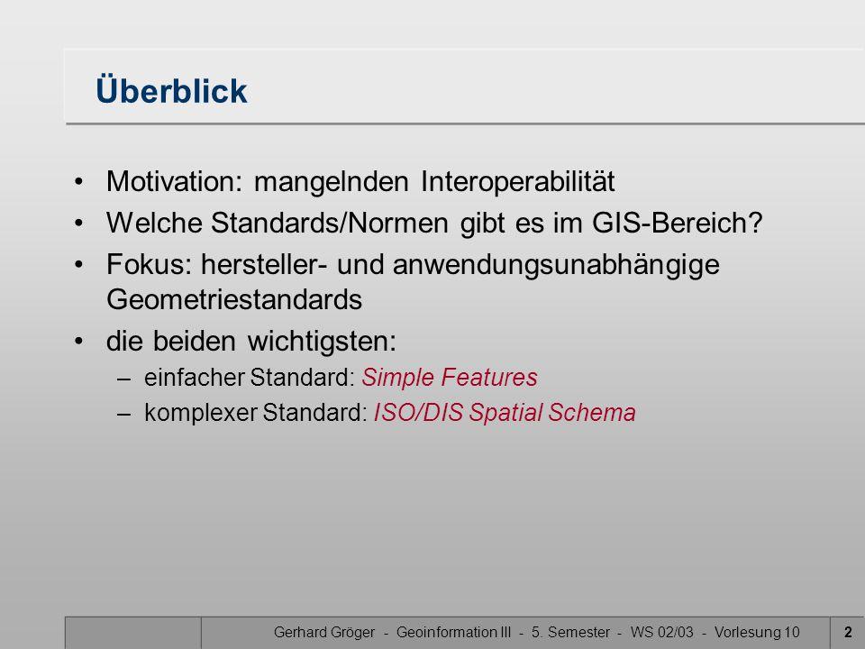 Gerhard Gröger - Geoinformation III - 5.Semester - WS 02/03 - Vorlesung 103 Wozu Standards.