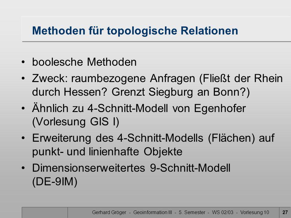 Gerhard Gröger - Geoinformation III - 5. Semester - WS 02/03 - Vorlesung 1027 Methoden für topologische Relationen boolesche Methoden Zweck: raumbezog