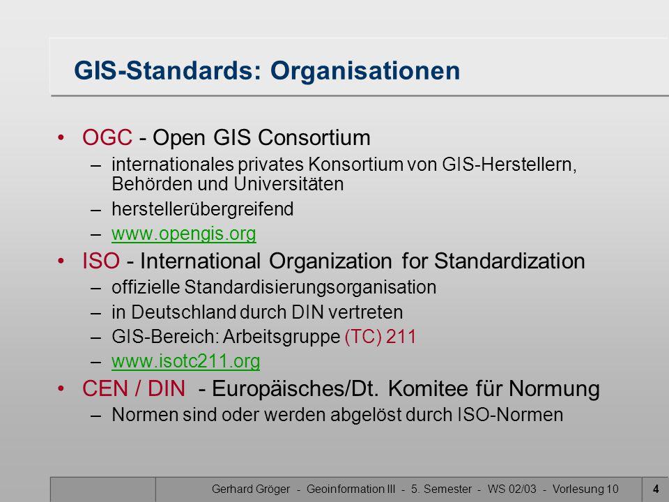 Gerhard Gröger - Geoinformation III - 5. Semester - WS 02/03 - Vorlesung 104 GIS-Standards: Organisationen OGC - Open GIS Consortium –internationales