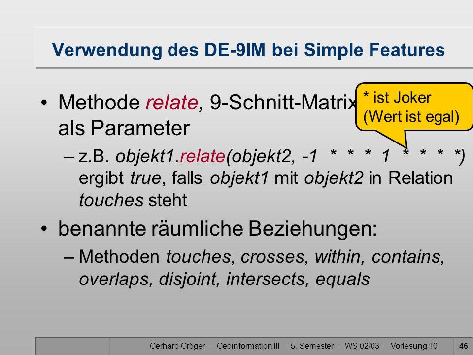 Gerhard Gröger - Geoinformation III - 5. Semester - WS 02/03 - Vorlesung 1046 Verwendung des DE-9IM bei Simple Features Methode relate, 9-Schnitt-Matr