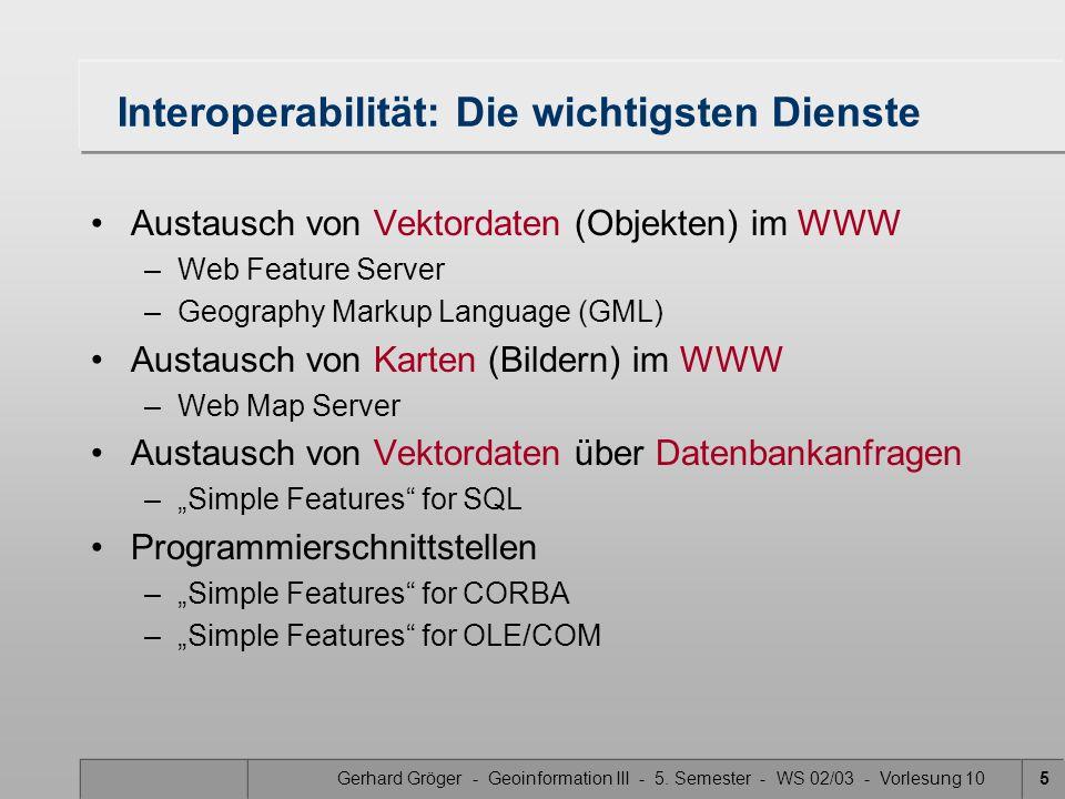 Gerhard Gröger - Geoinformation III - 5. Semester - WS 02/03 - Vorlesung 105 Interoperabilität: Die wichtigsten Dienste Austausch von Vektordaten (Obj