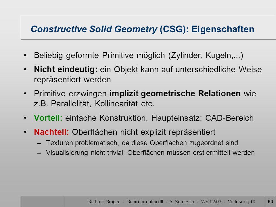 Gerhard Gröger - Geoinformation III - 5. Semester - WS 02/03 - Vorlesung 1063 Constructive Solid Geometry (CSG): Eigenschaften Beliebig geformte Primi