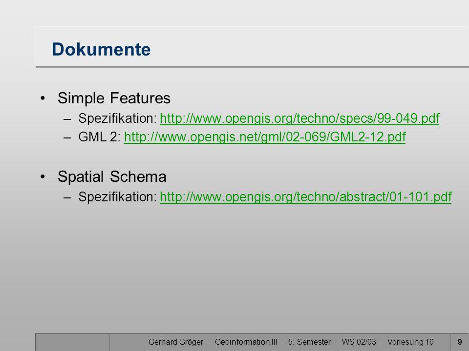 Gerhard Gröger - Geoinformation III - 5. Semester - WS 02/03 - Vorlesung 109 Dokumente Simple Features –Spezifikation: http://www.opengis.org/techno/s