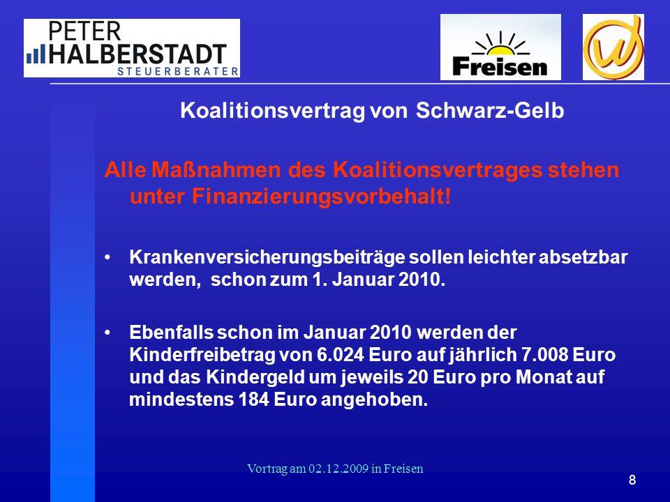 8 Vortrag am 02.12.2009 in Freisen Koalitionsvertrag von Schwarz-Gelb Alle Maßnahmen des Koalitionsvertrages stehen unter Finanzierungsvorbehalt! Kran