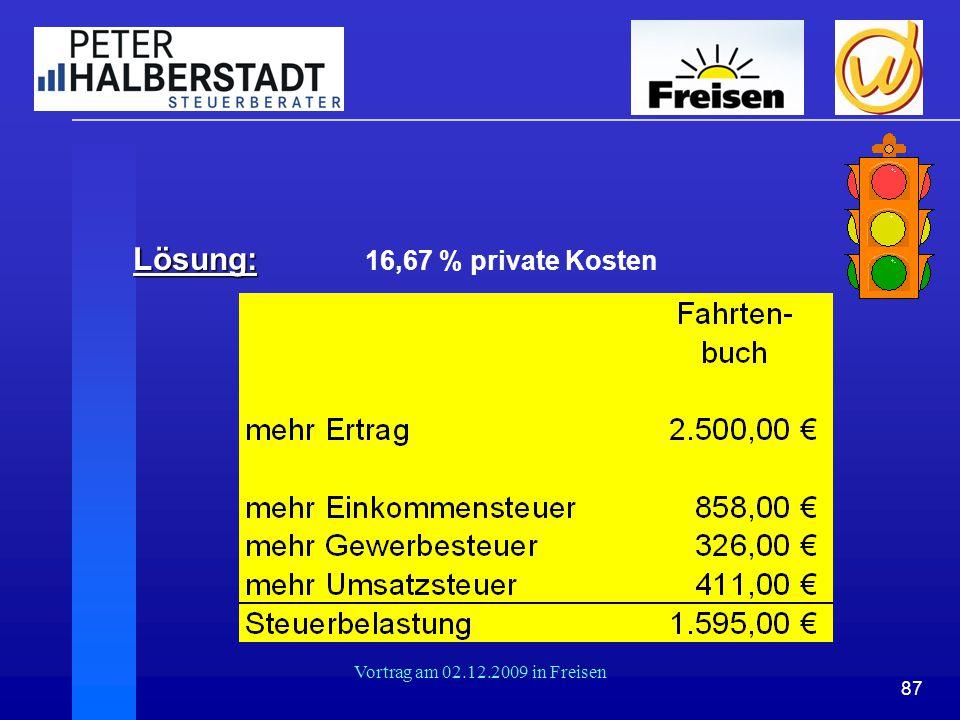 87 Vortrag am 02.12.2009 in Freisen Lösung: Lösung: 16,67 % private Kosten