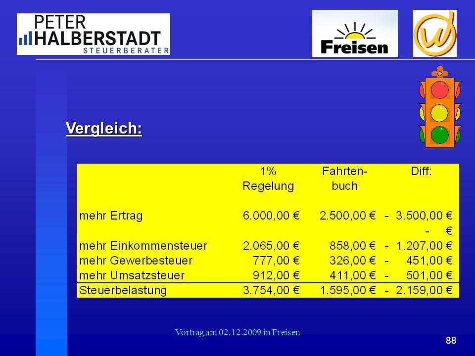 88 Vortrag am 02.12.2009 in Freisen Vergleich: